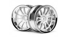 HPI #3284  WORK XSA 02C WHEEL 26mm CHROME/WHITE (6mm OFFSET) 2 stk.