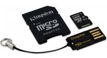 Kingston XS 64GB 3 i 1 Minnekort, Mikro-SD, SD, USB, Mobility Kit, Class 10