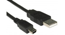 Mini B 5-pin USB Kabel 3 Meter, Svart